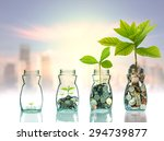 mix coins and seed in clear... | Shutterstock . vector #294739877