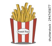 french fries in red and white... | Shutterstock .eps vector #294745877