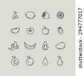 set line icons fruit. banana ... | Shutterstock .eps vector #294777017