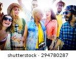 teenagers friends beach party... | Shutterstock . vector #294780287