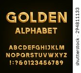 golden beveled font. vector... | Shutterstock .eps vector #294811133