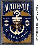 ocean sailing vintage label | Shutterstock .eps vector #294824483