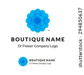 beautiful logo with blue flower ... | Shutterstock .eps vector #294850637
