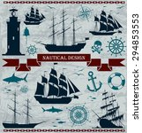 set of sailing ships with... | Shutterstock .eps vector #294853553