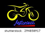 yellow silhouette of motorcross ... | Shutterstock .eps vector #294858917