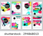 hand drawn watercolor posters... | Shutterstock .eps vector #294868013