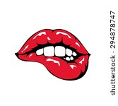 red lips biting retro icon... | Shutterstock .eps vector #294878747