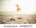 freedom  a young man getting... | Shutterstock . vector #294884573