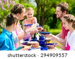 family having coffee and cake... | Shutterstock . vector #294909557