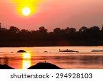 sunset on the river silhouette | Shutterstock . vector #294928103