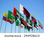 opec countries  flags waving in ... | Shutterstock . vector #294928613