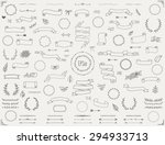Big collection of vector hand drawn decoration elements including ribbons, dividers, laurel wreaths, frames and floral elements. Doodle style. Eps10. | Shutterstock vector #294933713