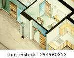 isometric partial architectural ... | Shutterstock . vector #294960353