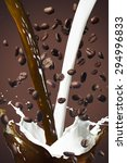 coffee splash with coffee beans ... | Shutterstock . vector #294996833