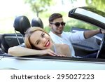 young couple in cabriolet ... | Shutterstock . vector #295027223