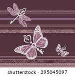 butterflies with keys vector... | Shutterstock .eps vector #295045097