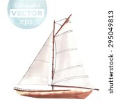 watercolor boat with sails made ... | Shutterstock .eps vector #295049813