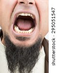 closeup on opened mouth of... | Shutterstock . vector #295051547