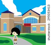 girl back to school | Shutterstock .eps vector #295053413