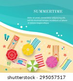 summertime beach  top view ... | Shutterstock .eps vector #295057517
