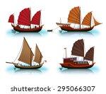 junk boat  halong bay  vietnam... | Shutterstock .eps vector #295066307