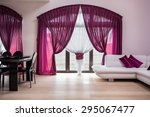 window with rose curtains in... | Shutterstock . vector #295067477