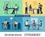 set of business people working... | Shutterstock .eps vector #295068083