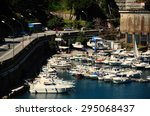 many white boats in the port of ... | Shutterstock . vector #295068437