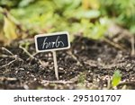 garden soil with a label saying ...   Shutterstock . vector #295101707