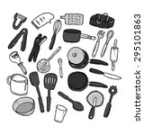 hand drawn kitchen utensil | Shutterstock .eps vector #295101863