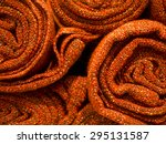 stack of red carpet   close up. | Shutterstock . vector #295131587