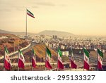 Set Of Iran Flags In Front Of...