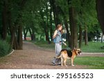 walk in the park with a dog | Shutterstock . vector #295165523