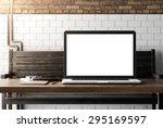 computer on table. 3d rendering | Shutterstock . vector #295169597