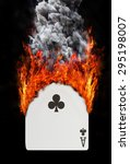Small photo of Playing card with fire and smoke, isolated on white - Ace of clubs