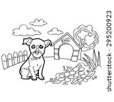 coloring book with dogs | Shutterstock .eps vector #295200923