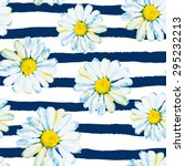 daisies on the striped nautical ... | Shutterstock .eps vector #295232213