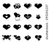 vector black hearts icons set...   Shutterstock .eps vector #295241237
