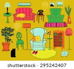 hand drawn doodle set of retro... | Shutterstock .eps vector #295242407