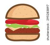burger flat vector icon... | Shutterstock .eps vector #295283897