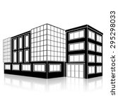 silhouette office building with ... | Shutterstock .eps vector #295298033