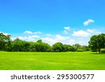green park and tree with blue... | Shutterstock . vector #295300577