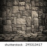 interior with stone wall... | Shutterstock . vector #295313417