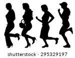 vector silhouettes of women on... | Shutterstock .eps vector #295329197