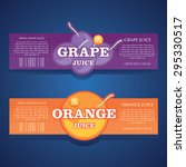 grape juice  orange juice label | Shutterstock .eps vector #295330517