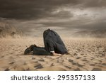 young businessman hiding head... | Shutterstock . vector #295357133