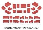 set of the isometric red modern ... | Shutterstock .eps vector #295364357