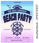 beach party flyer  poster | Shutterstock .eps vector #295373357