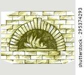 oven for cooking. brick... | Shutterstock .eps vector #295374293