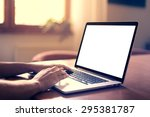 man's hands using laptop with... | Shutterstock . vector #295381787